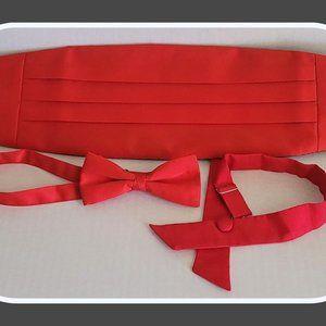 Silk Bow Tie & Cummerbund RED & Western Bow Tie